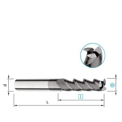 Fréza válcová čelní 3-břitá, 45°, Ø 1 mm, prodloužená řezná část