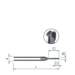 Kulová fréza prodloužená, ø 0,5 mm, s odlehčením